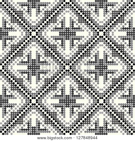 black and gray small colored balls geometric seamless pattern