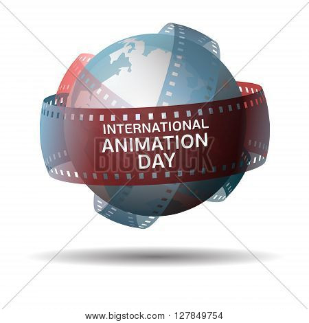 International animation day. Globe with filmstrip isolated on white background.