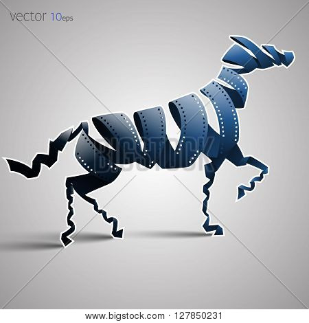horse made of filmstrip. Vector illustration. Eps 10