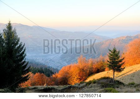 Such view Carpatian Mountains (Maramuresh) have in autumn. Maramuresh is a geographical historical and ethno-cultural region in northern Romania.