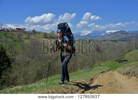 Woman (backpacker) with sun-glasses goes up the hill. High mountains covered with snow are in the background. Tourist has bright red hiking sticks.