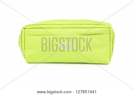A pencil case isolated on white, close up