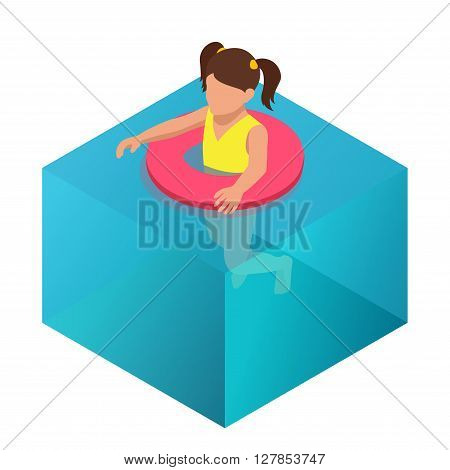 Little girl swimming in inflatable ring. Flat 3d vector isometric illustration