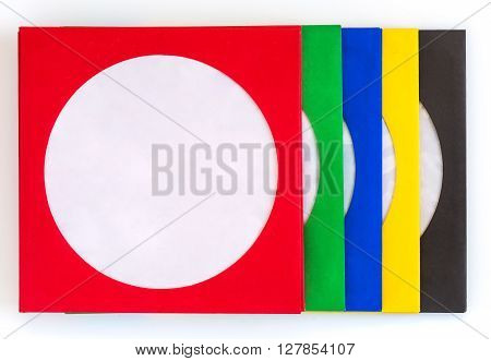 color envelopes for CD drives on a white background technology