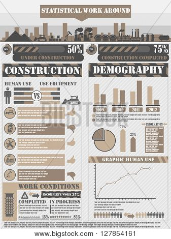 INFOGRAPHIC WORK BROWN  for web and other
