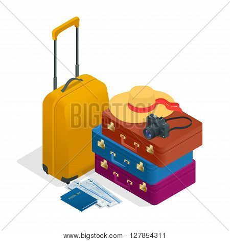 Travel bags, passport, foto camera and travel ticket. Isometric flat 3d vector illustration