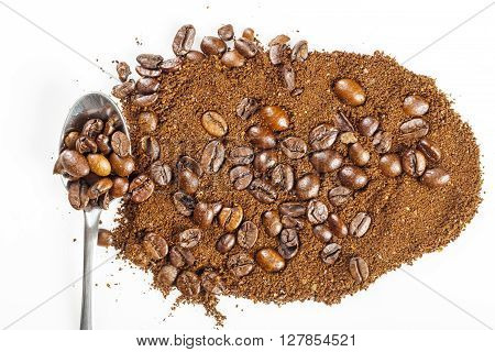 black arabica seeds coffee grains and Grinded