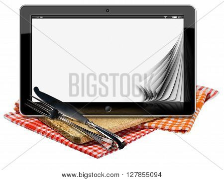 Illustration of a tablet computer with blank pages on a wooden cutting board checkered tablecloth and silver cutlery. Isolated on white background