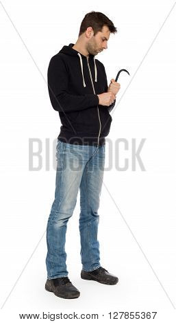 Crime Concept. Criminal In Hood With Crowbar In Hand