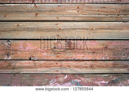 Rustic weathered barn wood background painted in red color, old grainy texture vintage grunge rough planks