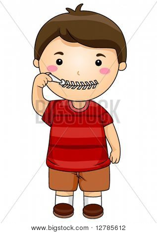 Kid zipping mouth - Vector