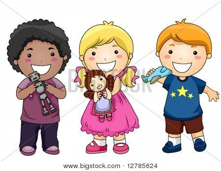 Children with Toys - Vector