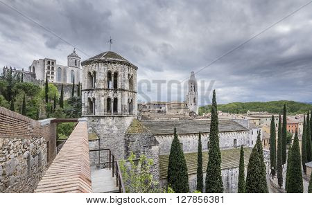 General view of Sant Pere de Galligants Monastery, Cathedral and Sant Feliu Church. Medieval old town in Girona, Spain