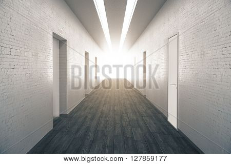 Corridor interior with dark wooden floor brick walls numerous doors and light at the end. 3D Rendering