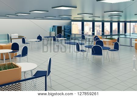 Canteen interior with tile floor square lights on ceiling and city view. 3D Rendering