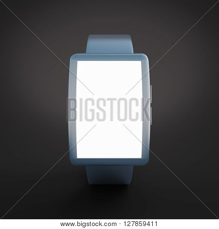Smartwatch with white screen on black background. Mock up 3D Rendering