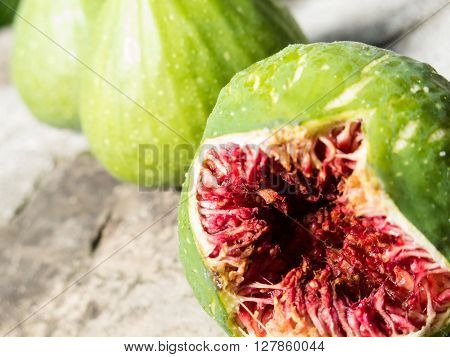 The flesh of a fig fruit that opened in a natural way