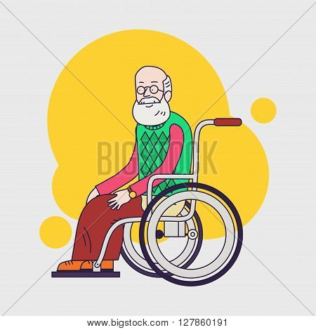 senior man sit in wheelchair. Elderly man with beard and glasses. Linear flat design. Caring for seniors. help for moving.