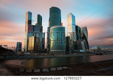 MOSCOW - APRIL 14 2015: The Moscow International Business Center Moscow-City . Located near the Third Ring Road the Moscow-City area is currently under development.;