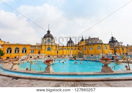 BUDAPEST HUNGARY - 25 JUNE 2014: Szechenyi thermal baths in Budapest. The Szechenyi Bath is the largest medicinal bath in Europe