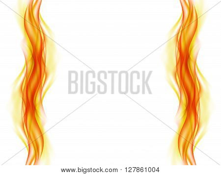 Abstract background with flames in yellow and red tones on the right and left sides of the picture on white, vector illustration