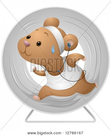Hamster Exercising - Vector