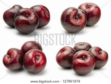 A Set of Fresh Red Plum Isolated on White Background in Full Depth of Field.