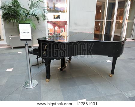 VIENNA AUSTRIA - CIRCA JUNE 2014: Parlour or budoir grand piano string music instrument