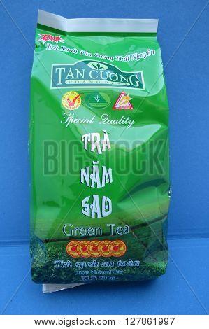 LONDON UK - CIRCA MARCH 2016: Tan Cuong - Tra Nam Sad green tea from Viet Nam packaging