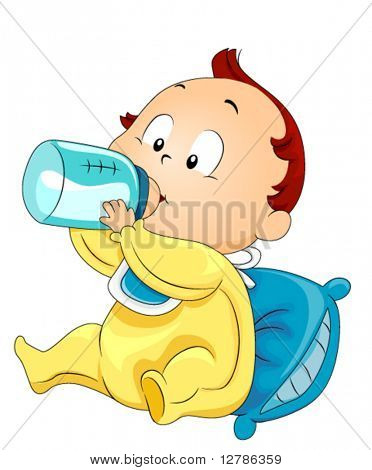 Baby drinking Milk - Vector