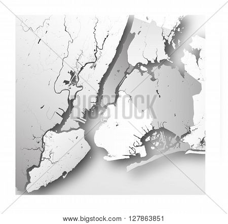 High resolution map of New York City with NYC boroughs.