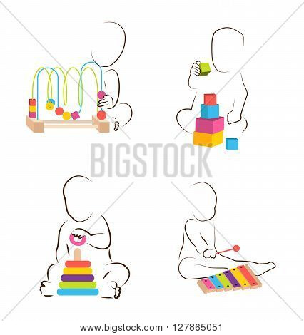 Children play with educational  toys. baby development icon with different toys
