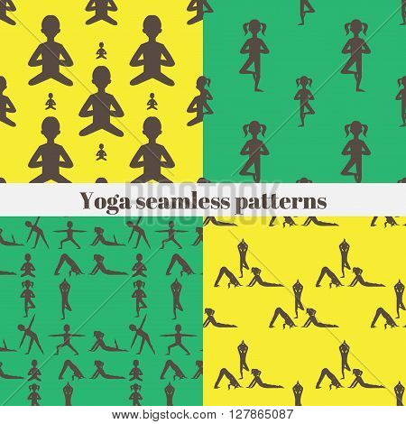 Yoga seamless pattern. Gymnastics for children and healthy lifestyle. Yoga exercises. Yoga class, yoga center, yoga studio. Flat yoga asana