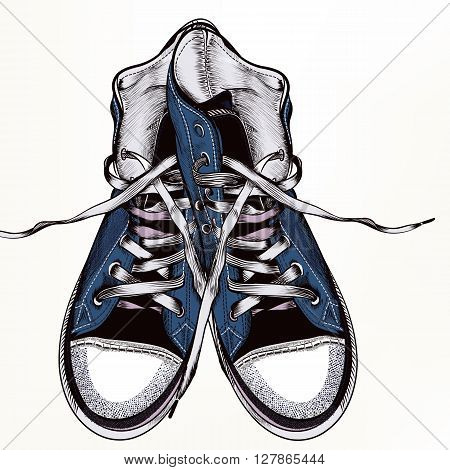 Fashion vector background with blue hipster sneakers in realistic engraved style for desig