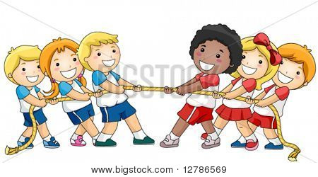 Children playing Tug Of War - Vector