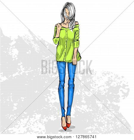 High trendy color look .Glamor stylish beautiful young woman model. Bright colorful cloth. Fashion style