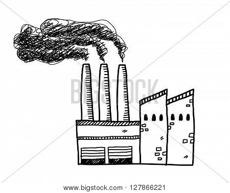 Factory Doodle, a hand drawn vector doodle illustration of a factory building with black smoke coming out of its chimneys.