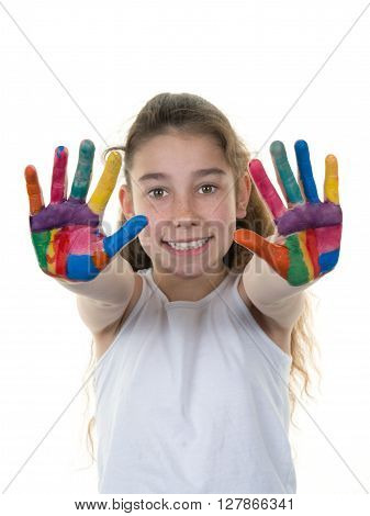 Cheerful Girl Showing Her Hands Painted In Bright Colors