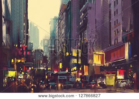 City traffic and colorful light in Hong Kong, illustration painting