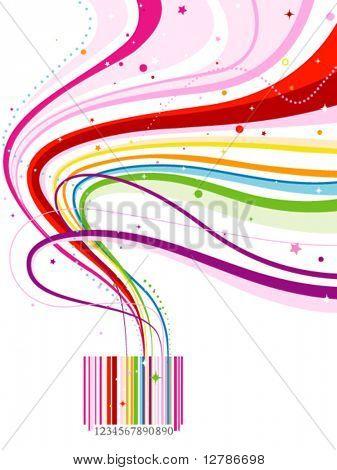 Abstract Rainbow Barcode Design - Vector
