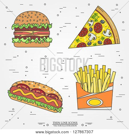 Vector thin line icon pizza, fries,  hot dog and burger . For web design and application interface, also useful for infographics. Vector illustration.