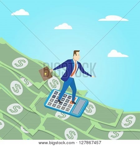 Money surfing. Business concept. Money surfing vector illustration. Business surfing on where money wave.