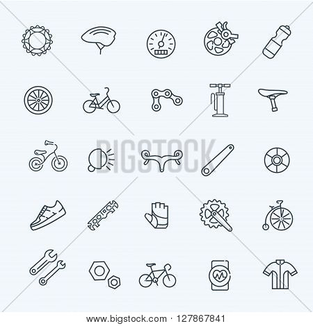 Bike tools and equipment part and accessories vector icon set
