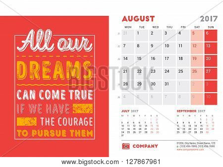 Desk Calendar Template For 2017 Year. August. Design Template With Motivational Quote. 3 Months On P