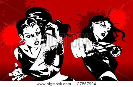 two woman in black suits with a weapon vector illustration