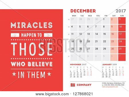 Desk Calendar Template For 2017 Year. December. Design Template With Motivational Quote. 3 Months On