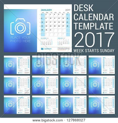 Desk Calendar Template for 2017 Year. Set of 12 Months. Vector Design Template with Place for Photo. 3 Months on Page. Week starts Sunday. Vector Illustration