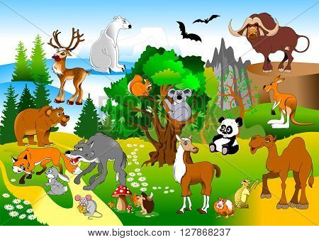 large group of animals in the green forest vector and illustration