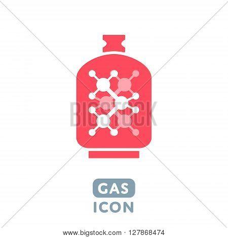 Modern Creative Design Flat Vector Balloon Gas Icon Sign with Molecule