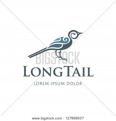 Vector Abstract Bird Logo Type Template with Creative Design, Long Tail and Wings